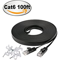 100-Feet Jadaol Cat 6 Flat Ethernet Cable with Cable Clips