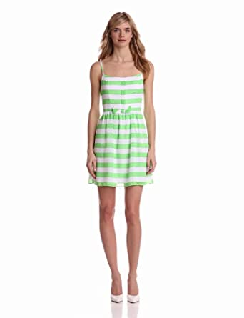 Lilly Pulitzer Women's Antonia Dress, New Green Awning Stripe, 00