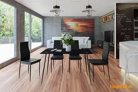 Hogar24-Conjunto Mesa ABA Negro + 4 Sillas Color Negro