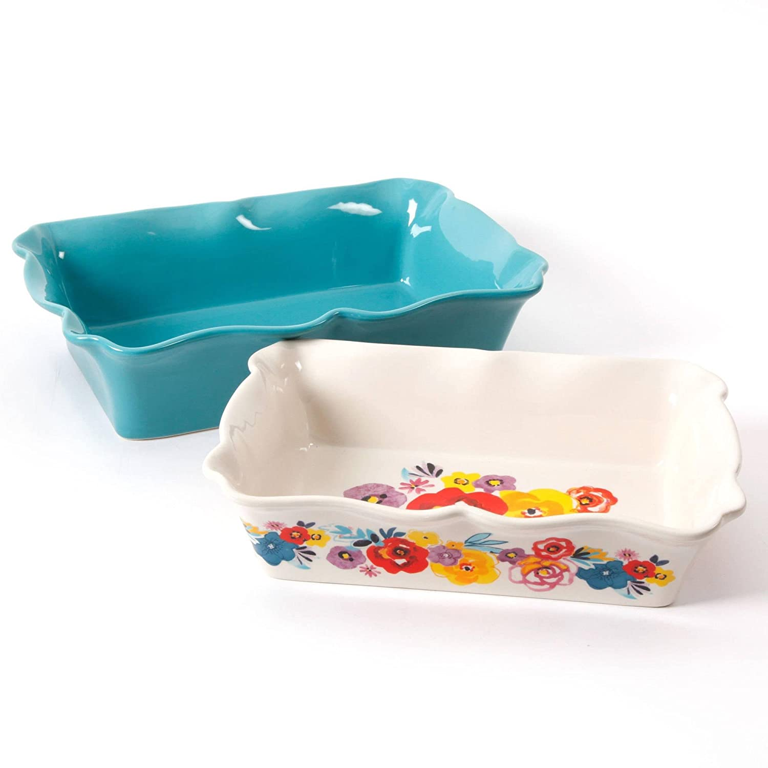The Pioneer Woman Flea Market 2-Piece Decorated Rectangular Ruffle Top Ceramic Bakeware Set | amazon.com