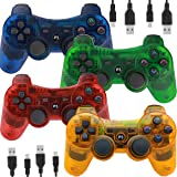 Wireless Controllers for PS3 Playstation 3 Dual Shock, Bluetooth Remote Joystick Gamepad for Six-axis with Charging Cable,Pack of 4 (Orange,Green,Blue,Red) (Color: Orange,Green,Blue,Red)