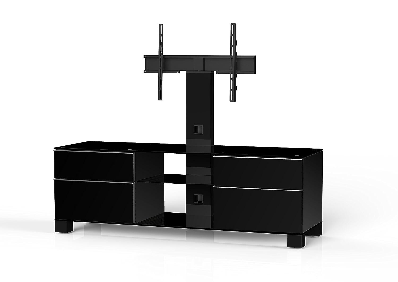 Sonorous MD 8340-B-HBLK-BLK Fernseher-Möbel mit Schwarzglas (Aluminium Hochglanz/Korpus Hochglanzdekor) schwarz