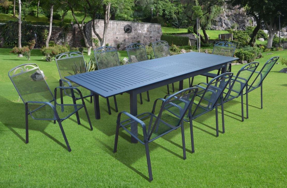 11-teilige XXL Luxus Aluminium Streckmetall Gartenmöbelgruppe