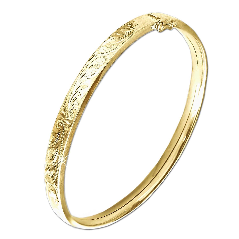 CLEVER SCHMUCK goldener Armreif für Damen mit floralem muster-Design ECHT GOLD 333 kaufen