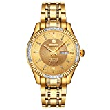 BINLUN 18K Gold Plated Automatic Wrist Watches for Men Luxury Men's Dress Watch (Gold-Date) (Color: Gold)