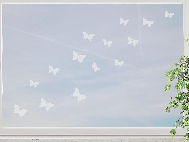 wandfabrik – Fenstersticker 15 Schmetterlinge 3-5cm Motiv (S2xs) – frosty – 798 – (Xt) jetzt kaufen