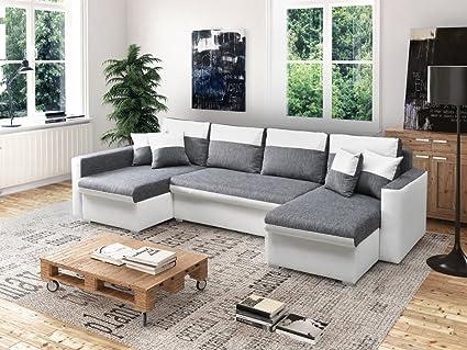 große Ecksofa Sofa Eckcouch Couch mit Schlaffunktion und DREI Bettkasten Ottomane U-Form Schlafsofa Bettsofa - BERLIN U (Ecksofa Links, Weiß)