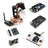 SainSmart DIY 6-Axis Servo Control Robot Arm Combo kit with Remote Control Shield Perfect Platform to Build on and to Get Started with Arduino Robotics, Compatible with Uno, Mega2560 R3
