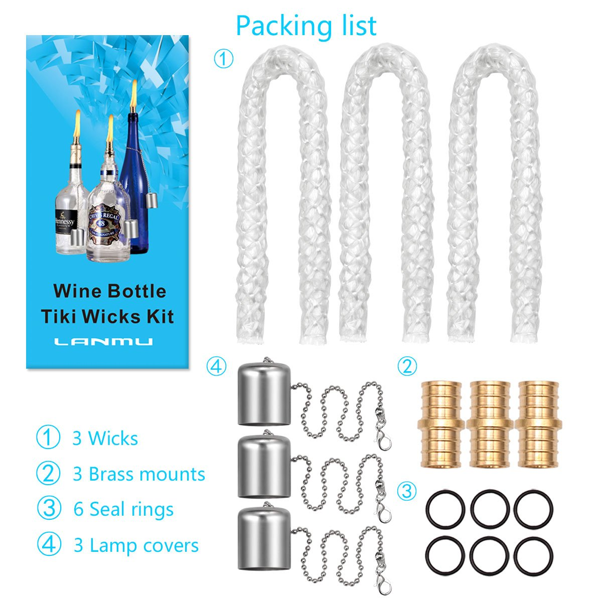 LANMU Wine Bottle Tiki Wicks,Oil Lamps,Tabletop Torch,Patio Torch,Table Top Torch Lantern Kit for Spring Summer Nights/Outdoors (3 Pack)