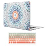 iCasso MacBook Air 13 inch Rubber Coated Soft Touch Hard Shell Protective Case Cover for MacBook Air 13 Inch Model A1369/A1466 with Keyboard Cover (Mandala&Lace) (Color: Mandala&Lace, Tamaño: 13 Inches)