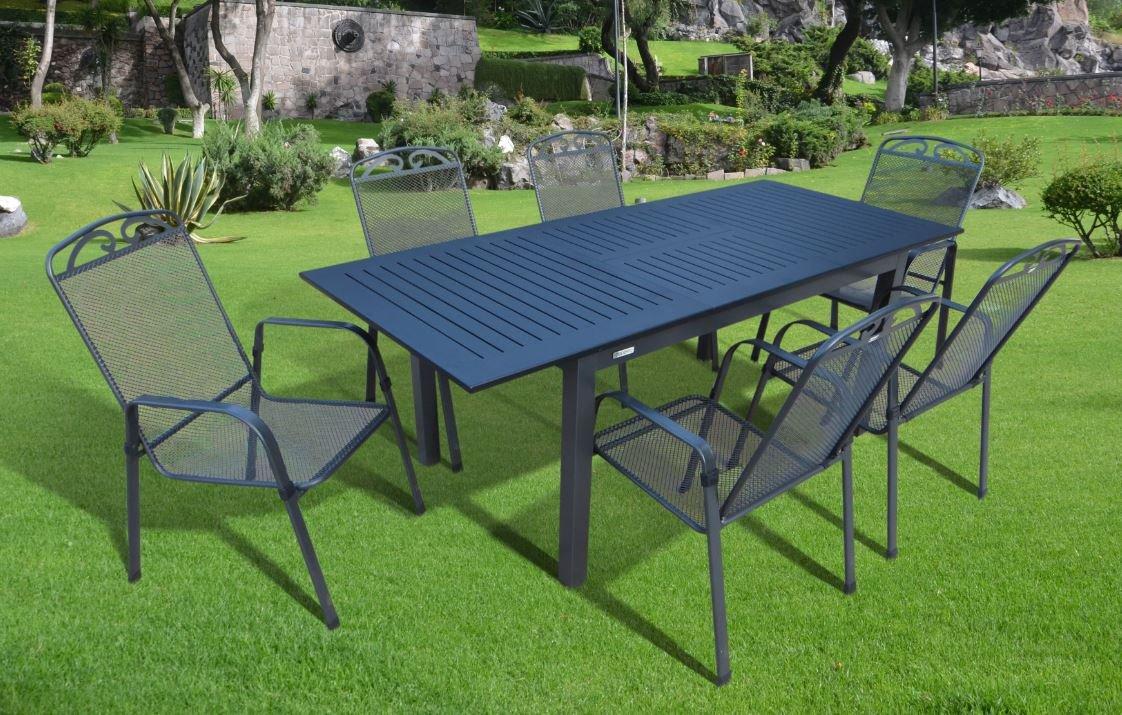 7-teilige Luxus Aluminium Streckmetall Gartenmöbelgruppe