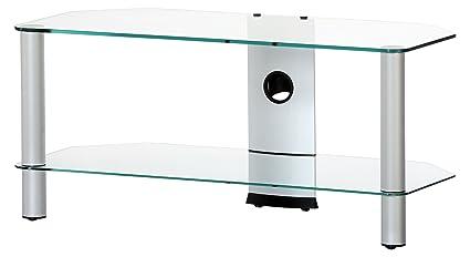 NEO 290-TG - Mueble de TV con 2 estantes y 90 cms de ancho. Vidrio Transparente / Chasis gris.