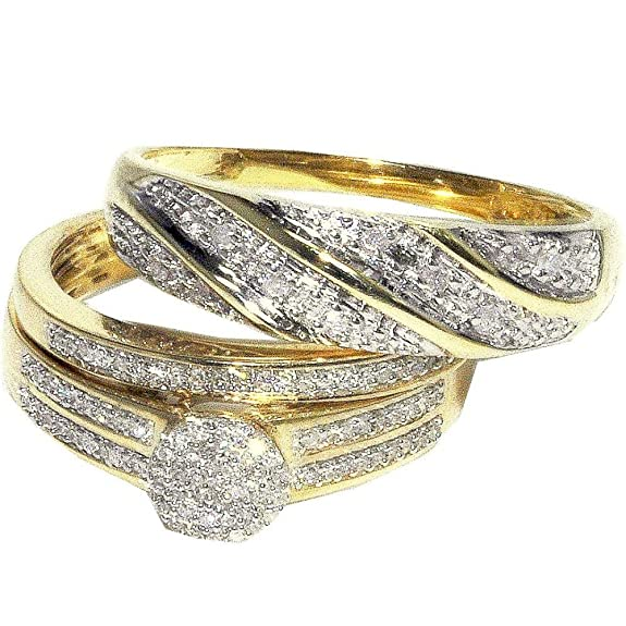 Midwest Jewellery Women's His And Her Trio Rings Set 0.3Cttw Diamonds 10K Yellow Gold Pave Set 3Pc Set(I/Jcolor, 0.3Cttw)