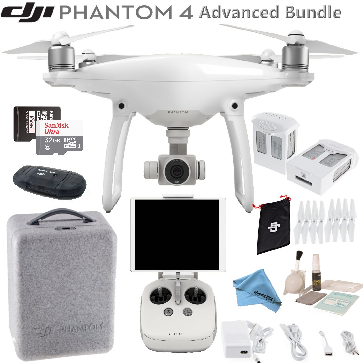 DJI Phantom 4 Quadcopter w/ Advanced Bundle: Includes 2 Intelligent Flight Batteries, SanDisk 32GB MicroSD Card and more..