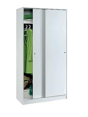 Armario color blanco brillo, 2 puertas correderas regulables, altillo y barra interior incluida de dormitorio. 200cm alto x 100cm ancho x 55cm fondo