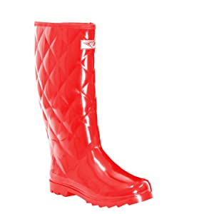 Women Quilted Style Rubber Rain Boots, Red, 10