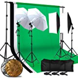 CY 2.6M x 3M/8.5ft x 10ft Background Support System and 4 x 85W 5500K Bulbs, Umbrellas Softbox Continuous Lighting Kit for Photo Studio Product,Portrait and Video Shoot Photography (Tamaño: SET 2)