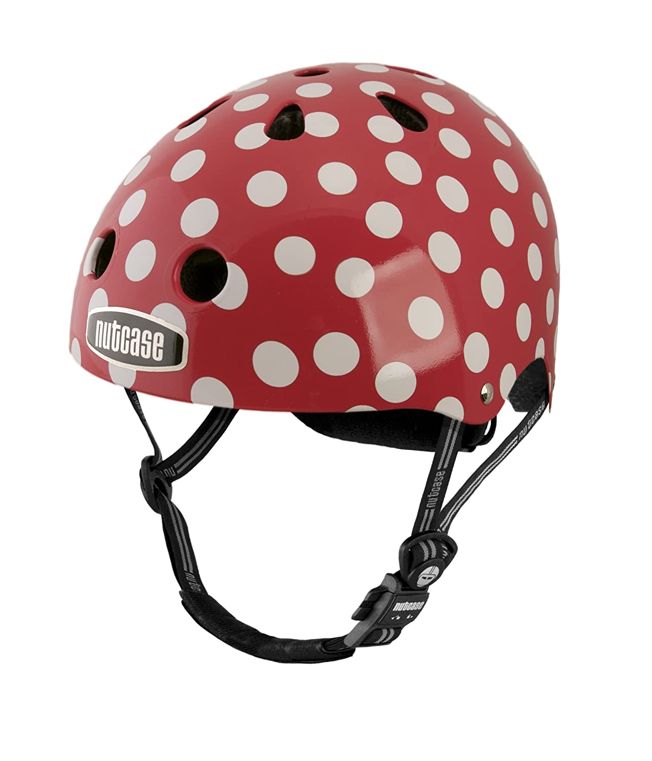 red and white polka dot bicycle helmet