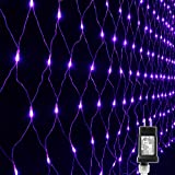 Lyhope 12ft x 5ft 360 LED Decorative Net Lights, 8 Modes Low Voltage Mesh Christmas Lights for Xmas Trees, Bushes, Wedding, Garden, Outdoor, Indoor Decor (Purple) (Color: 360led-Purple, Tamaño: 360led)