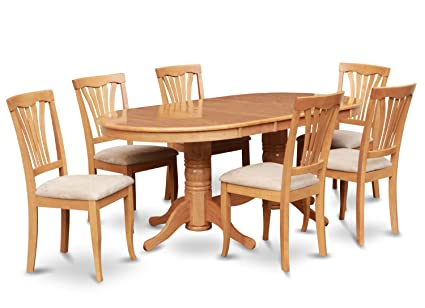 East West Furniture VAAV9-OAK-C 9-Piece Dining Table Set