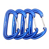 L-Rover 12 kN Aluminum Wire Gate Carabiners 2 or 4 Pack- Heavy Duty, 2,645-pound Rating for Hammocks, Rv,Fishing,Locking Dog Leash and Harness, Camping, Photography, Key Chains,Hiking & Utility