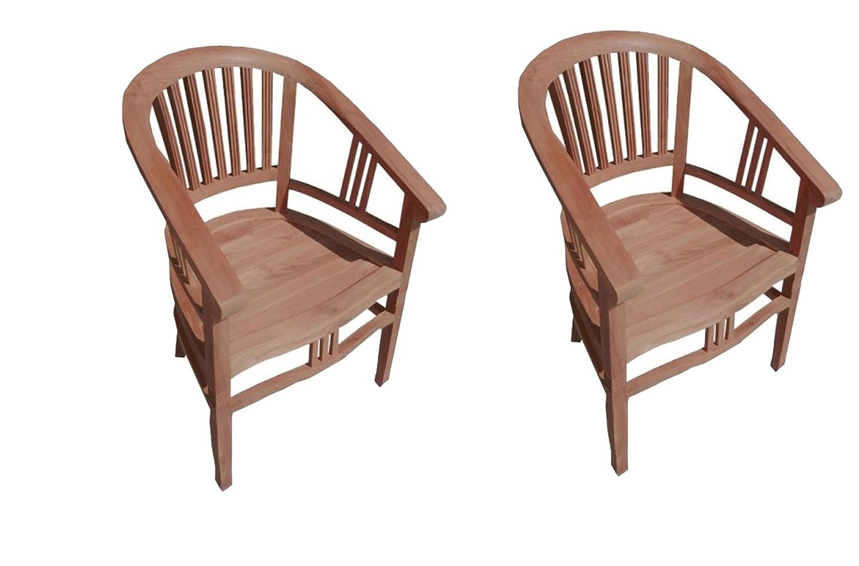 2er Spar-Set Gartenstuhl Sessel aus Teak Holz mit Armlehnen Moreno