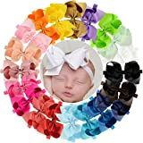 WillingTee 6 inches Grosgrain Ribbon Hair Bows Headbands for Baby Girls and Toddlers 20 pieces (Color: Solid Color, Tamaño: 6 inches)