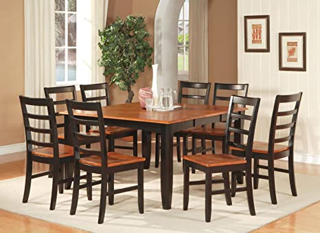East West Furniture PARF7-BLK-W 7-Piece Dining Room Table Set