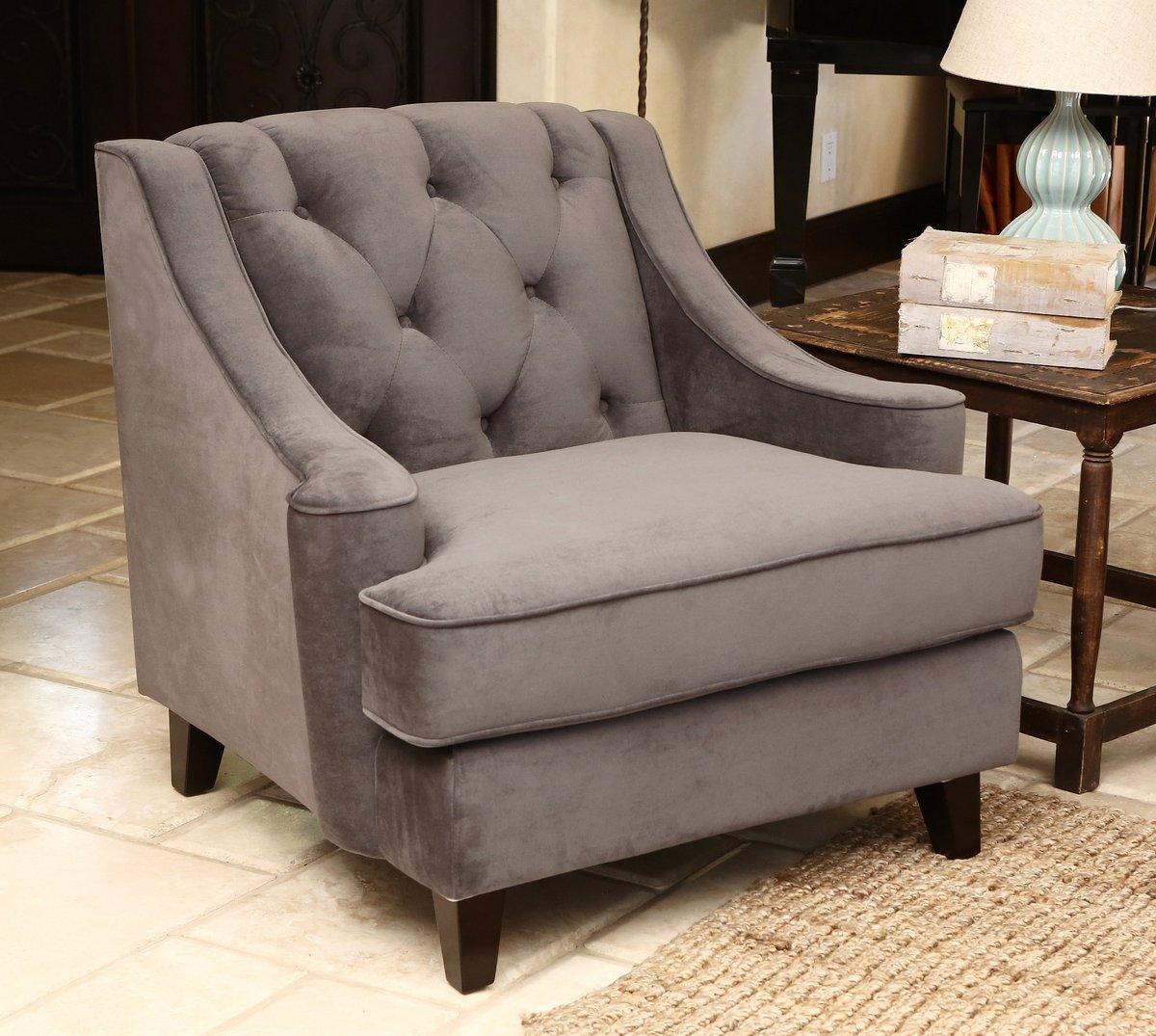 Emily Velvet Fabric Tufted Armchair Grey
