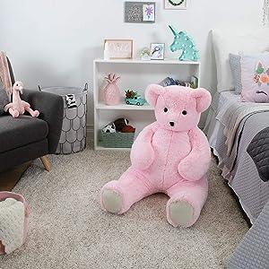 Vermont Teddy Bear Big Bear - Huge Stuffed Animals, 4 Foot, Pink, Cuddle (Color: Pink Bear)
