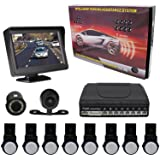 KIPTOP Backup Camera and Video Monitor Kit - 8 Alert Parking Sensors with Universal Night Vision-Super Clear 4.3 TFT LCD Rear View &Waterproof for All Cars - Silver (Color: 8 Parking Sensor)