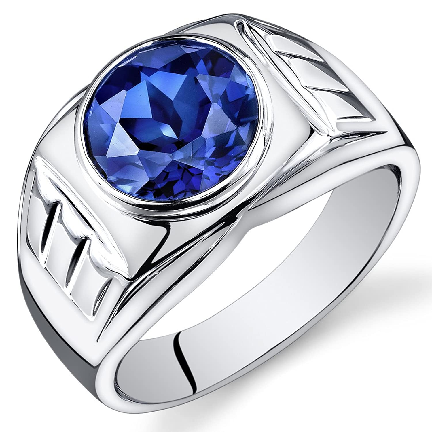 Blue Sapphire Ring For Men Price Mens 5 50 Carats Created Blue