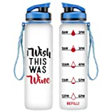 LEADO 32oz 1Liter Motivational Tracking Water Bottle with Time Marker - I Wish This was Wine - Funny Wine Lover Birthday Gifts for Women Best Friend, Daughter, Mom, Wife - Drink More Water Daily (Color: I Wish This Was Wine)