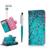 MOLLYCOOCLE iPod Touch 6 Case, Wallet Purse Credit Card ID Holders Magnetic Pink Flower Bule Premium PU Leather Soft TPU Bumper Slim Fit Flip Folio Case Cover for iPod Touch 5 (Color: Color Tree)