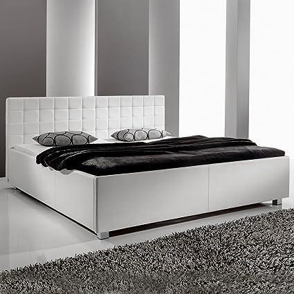 Polsterbett weiss 160x200 Kunst-Lederbett Bett Doppelbett Mainz-3