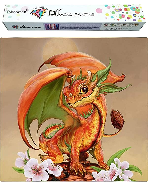 Dylan's cabin DIY 5D Diamond Painting Kits for Adults,Full Drill Embroidery Paint with Diamond for Home Wall Decor(Dragon /16x16inch) (Color: dragon 3)