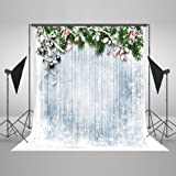 5ft(W) x7ft(H) Firtree with Holly Chritmas Photography Background Snowfall Woonden White Board Photo Backdrop for Chrismas Photo Studio Props (Color: 1, Tamaño: 5x7ft)