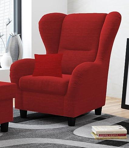 Sessel, Ohrensessel, Zierkissen, rot, Strukturstoff, B/H/T 90/98/76 cm