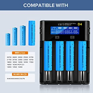 LCD Display Universal battery charger,Rechargeable USB Intelligent Charger for Ni-MH Ni-Cd AA AAA C Li-ion LiFePO4 TR IMR 18650 26650 14500 16340 18500 10440 18350 17670 RCR123a Rechargeable Batteries