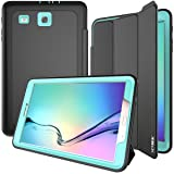 Samsung Galaxy Tab E 9.6' Case, SEYMAC Three Layer Drop Protection Rugged Protective Heavy Duty Tablet Cover with Magnetic for Samsung Galaxy Tab E 9.6 inch SM-T560/SM-T561 (Black/Light Blue) (Color: Black Light Blue)