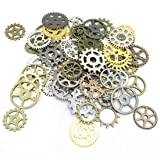 Antique Metal Steampunk Gears Charms, JIALEEY Wholesale Bulk Lots Mixed Clock Watch Wheel Charms Pendants DIY for Jewelry Making Accessory and Crafting, 100 Gram 5 Color (Color: Multicolored)