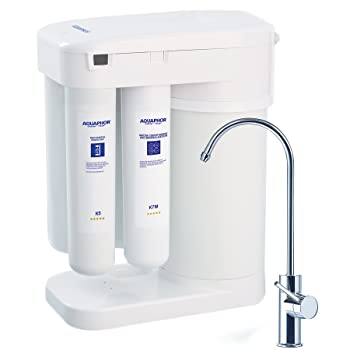 Aquaphor RO-101 Reverse Osmosis Water Filtration System 7 Stage NSF Certified Non Electric Compact Under Sink Ro No Booster Pump Needed Patented Water on Water Airless Tank Remineralization Cartridge