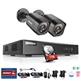 ANNKE 8CH 1080P Lite HD DVR CCTV Security System with 2 x 1.0 Megapixel 720P Wired Outdoor Indoor Home Video Security Camera System 66ft Night Vision 1TB Hard Drive Included (Color: 8+2+1TB HDD, Tamaño: Bullet Cam-Black)