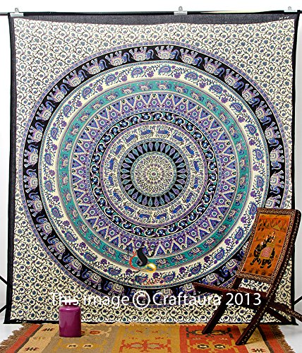 Hippie Elephant Tapestries, Large Size Tapestry Wall Hanging, Mandala Tapestries, Bohemian Tapestries, Wall Tapestries, Dorm Decor, Queen Bed Cover Bedding (1, A)