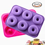 KLEMOO 2-Pack Donut Baking Pan, Silicone, Non-Stick Mold, Bake Full Size Perfect Shaped Doughnuts to Sweeten Your
