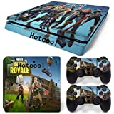 Vinyl Decal Fortnite Protective Save The World Skin Cover Sticker For PS4 Playstation 4 System Console and Controllers Decal Cover Vinal Sticker + 2 Controller Skins Set Style 8451