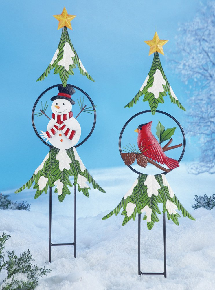 Christmas Holiday Tree Garden Stakes Snowman