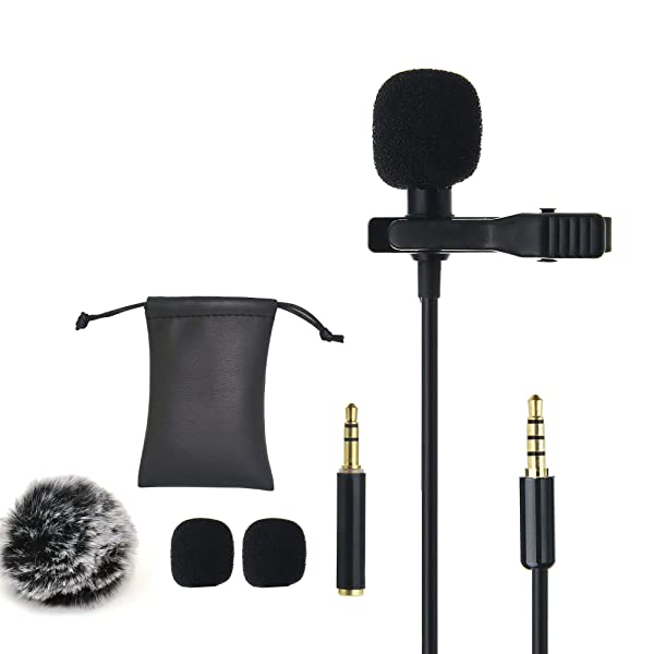 Ruittos Lavalier Clip Microphone, Mini Omnidirectional Condenser Interview Microphone for Apple Device, iPhone XR XS 8 7 Samsung, HTC, Video Recording