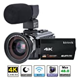 Video Camera Camcorder 4K kicteck Ultra HD Digital WiFi Camera 48.0MP 3.0 inch Touch Screen Night Vision 16X Digital Zoom Recorder with External Microphone and Wide Angle Lens,2 Batteries(4KMW) (Color: 4KMW)