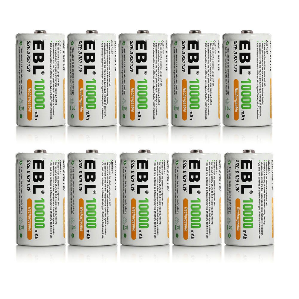 10 Pack EBL® D Size D Cell 10,000mah High Capacity High Rate NiMH Rechargeable Batteries original xiaomi ми 3 3050mah cellphone бэттери bm31 high capacity rechargeable бэттери pack 100